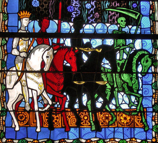 The Four Horsemen of the Apocalypse War, Famine, Death, Pestilence. Stained Glass, Unknown source.